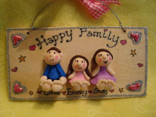 3 Character 3d Family Sign Personalised Any Combination of People & Pets Handmade To Order